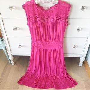 Boden Jessica pink midi swiss dot lace dress 8